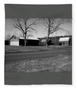 Old Red Barn In Black And White Fleece Blanket
