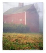 Old Red Barn In Fog Fleece Blanket