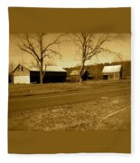 Old Red Barn In Sepia Fleece Blanket