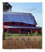 Old Red Barn Near Etowah Nc Fleece Blanket