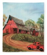 Old Red Barn Fleece Blanket