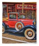 Old Red Pickup Truck Fleece Blanket