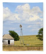Old Rush County Farmhouse With Windmill Fleece Blanket