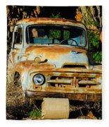 Old Rusty International Flatbed Truck Fleece Blanket
