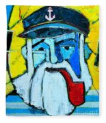 Old Sailor With Pipe Expressionist Portrait Fleece Blanket