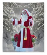 Old Saint Nick Fleece Blanket