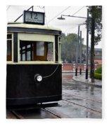 Old Shanghai Trolley Tram Car Rests In Tracks Fleece Blanket