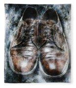 Old Shoes Frozen In Ice Fleece Blanket