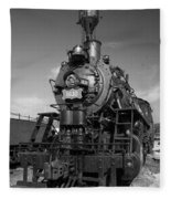 Old Steam Engine Black And White Fleece Blanket