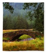 Old Stone Bridge Over Kinglas River. Scotland Fleece Blanket