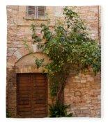 Old Stone House With Plants  Fleece Blanket