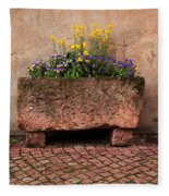 Old Stone Trough And Flowers In Alsace France Fleece Blanket