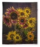 Old Sunflowers Fleece Blanket