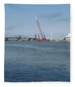 Old Swing Bridge Chincoteague Fleece Blanket