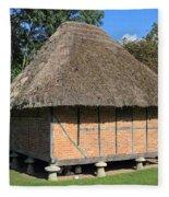 Old Thatched Barn Britain Fleece Blanket