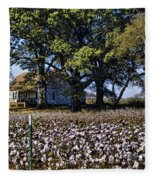 Old Time Farm And Cotton Fields Fleece Blanket