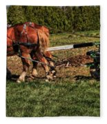 Old Time Horse Plowing Fleece Blanket