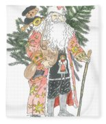 Old Time Santa With Teddy Fleece Blanket
