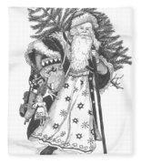 Old Time Santa With Violin Fleece Blanket