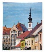 Old Town Buildings In Budapest Fleece Blanket