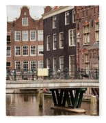 Old Town In Amsterdam Fleece Blanket