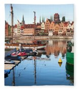 Old Town Of Gdansk Skyline And Marina Fleece Blanket