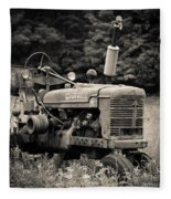 Old Tractor Black And White Square Fleece Blanket