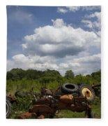 Old Tractor Junkyard Fleece Blanket