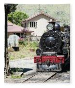 Old Train Engine Fleece Blanket