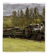 Old Train Steam Engine At The Fort Edmonton Park Fleece Blanket