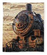 Old Train Still In Light Fleece Blanket