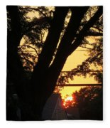 Old Tree And Sunset Fleece Blanket