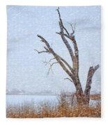 Old Tree In Winter Fleece Blanket