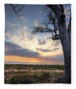 Old Tree Sunset Over Oyster Bay Fleece Blanket