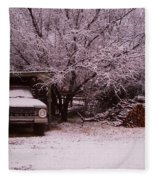 Old Truck In The Snow Fleece Blanket