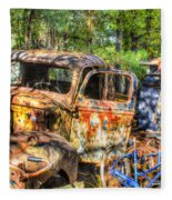 Old Trucks And Old Bicycles Fleece Blanket