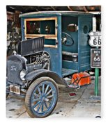 Old Tyme Auto Shop Fleece Blanket