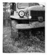 Old Vintage Dodge Work Truck Fleece Blanket