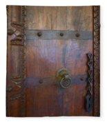 Old Vintage Door With Chain Fleece Blanket