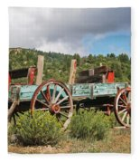 Old Wagon Along The Road Fleece Blanket