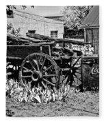 Old Wagon And Cooler Fleece Blanket