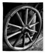 Old Wagon Wheel Black And White Fleece Blanket