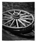 Old Wagon Wheels Fleece Blanket