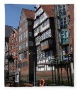 Old Warehouses Port Of Hamburg  Fleece Blanket