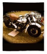 Old White Motorcycle Fleece Blanket
