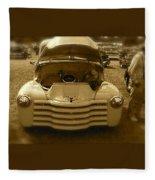 Old White Pickup Truck Fleece Blanket