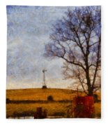 Old Windmill On The Farm Fleece Blanket