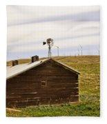Old Windmill Vs New Windmills Fleece Blanket
