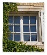 Old Window With Creeper. Fleece Blanket