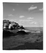 Old Woman Creek - Black And White 3 Fleece Blanket